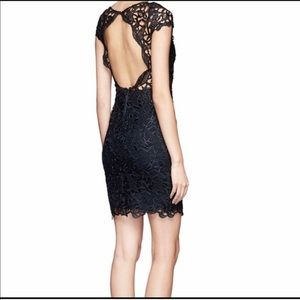 Alice + Olivia Clover Lace Back Cocktail Dress
